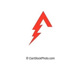 carta, relámpago, logotipo, plantilla
