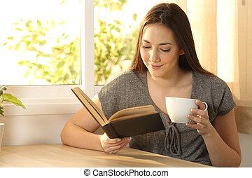 carta, rilassato, donna, libro, lettura
