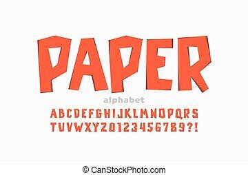 carta, ritagliare, font