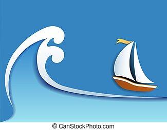 carta, sailer, sagoma, aviatore, onda