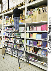 carta, scala libro, donna, magazzino