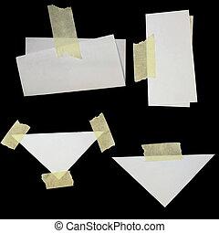 carta, scarti, set, nastro, mascherare