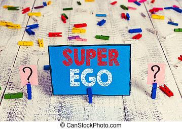 carta, scrittura, legno, suo, ego., affari, dimostrare, intero, parola, tavola., stesso, delega di responsabilità, disposto, o, super, clip, scribbled, concetto, anima, foglio, testo, sgretolamento, qualsiasi