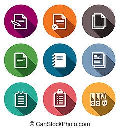 carta, set, blocco note, documenti, icone