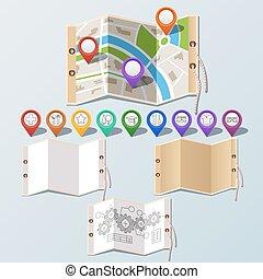 carta, set, navigazione