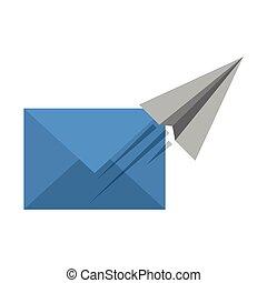 carta, simbolo, volare, email, aereo