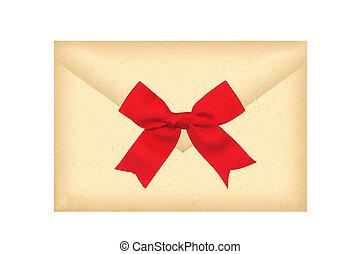 carta, sobre, con, arco rojo, aislado, blanco