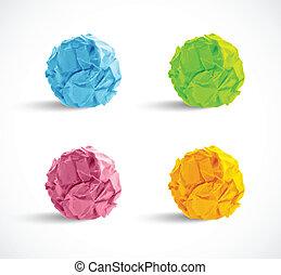 carta spiegazzata, set, palle