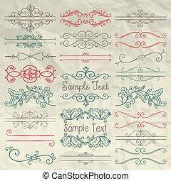carta spiegazzata, turbini, divisori, mano, disegnato, cornici