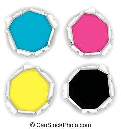 carta, stampa, strappato, fori, colors.