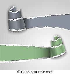 carta, strappato, bandiere