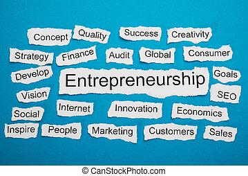 carta, strappato, parola, pezzo, imprenditorialità