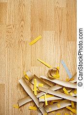 carta, taglio, pavimento, vista superiore