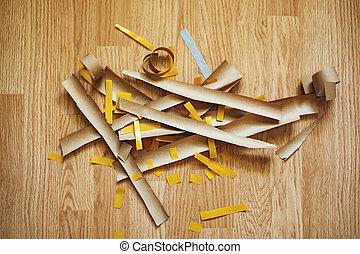 carta, taglio, pavimento, vista superiore, fuoco selettivo