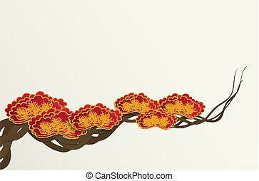 carta, taglio, stile, di, fiore plum, ramo albero, fondo, per, cinese, o, giapponese, disegno, vettore, illustration.