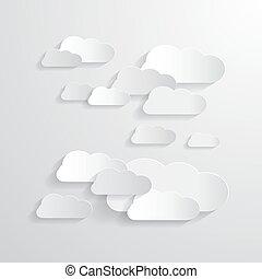carta, taglio, vettore, nubi, fondo