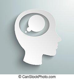carta, testa, bolla, pensiero, cervello, bianco