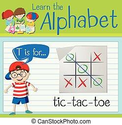 carta, tic - tac - dedo del pie, flashcard, t