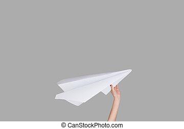 carta tiene, fondo, mani, segno, studio, aeroplano
