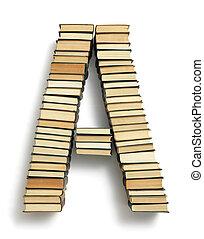 carta um, formado, de, a, página, extremidades, de, livros