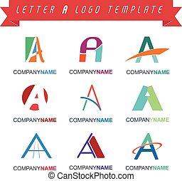 carta um, logotipo, modelo