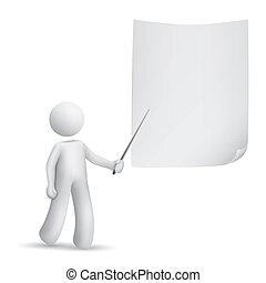 carta, umano, indicare, 3d