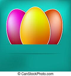 carta, uovo, pasqua, card., blu, +, eps8