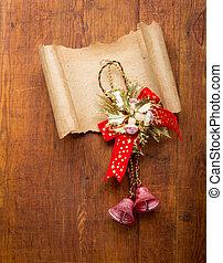 carta, vecchio, decorazioni, copyspace, natale