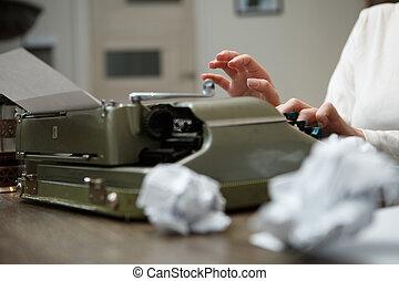 carta, vecchio, macchina scrivere