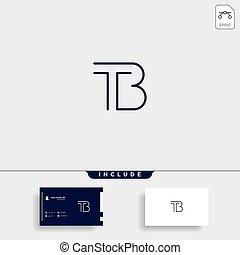carta, vector, b, logotipo, diseño, simple, bt, tb, t