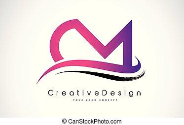 carta, vector, logotipo, cartas, m, design., moderno, logo...