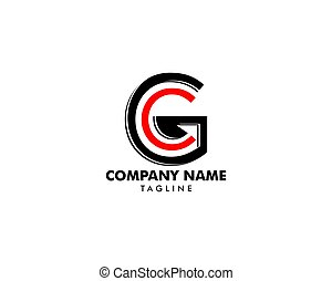 carta, vector, logotipo, inicial, gc, concepto