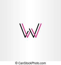 carta, vector, logotipo, magenta, negro, w, icono
