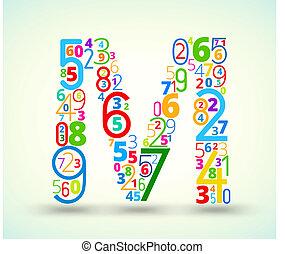 carta, vector, m, coloreado, fuente, números