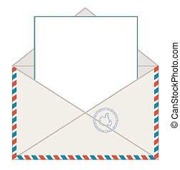 carta,  vector, sobre, blanco
