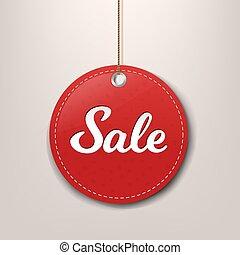 carta, vendita, etichetta, corda, rosso