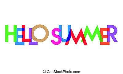 carta, verano, hola, colorido, transparant