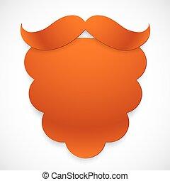 carta, vettore, baffi, disinserimento, rosso, barba