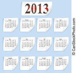 carta, vettore, piccolo, calendario, bianco, 2013