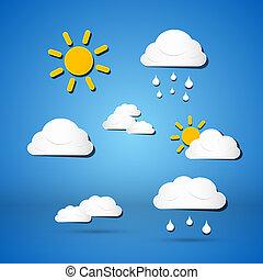 carta, vettore, tempo, icone, -, nubi, sole, pioggia, su, sfondo blu