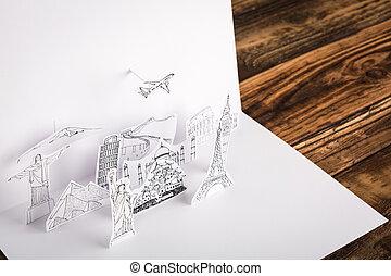 carta, viaggiare, taglio, (japan, york