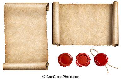 carta vieja, papel, parchments, con, sello de lacrar,...