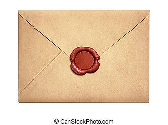 carta vieja, sobre, con, rojo, sello de lacrar, aislado