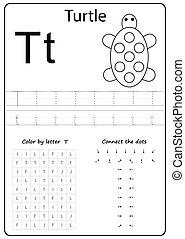 carta, worksheet., alfabeto, cartas, tarea, t., aprendizaje, kids., letter.
