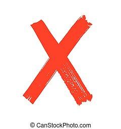 carta, -, x, manuscrito, rojo blanco, fondo.