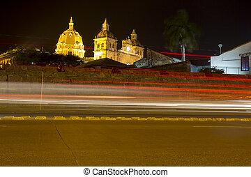 Cartagena at night with Santo Domingo Church