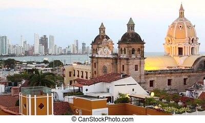 Cartagena, Colombia skyline. Historic city center, bocagrande and port