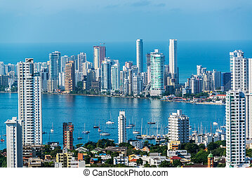 Cartagena Skyscapers - View of skyscrapers in the Bocagrande...