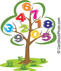 cartas, árbol, números