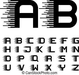 cartas, alfabeto, líneas, movimiento, fuente, velocidad